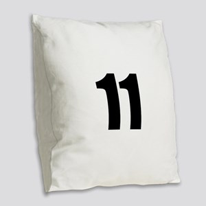 Number 11 Burlap Throw Pillow