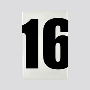 Number 16 Rectangle Magnet