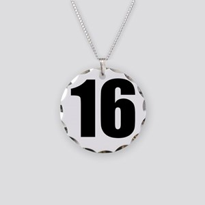 Number 16 Necklace Circle Charm