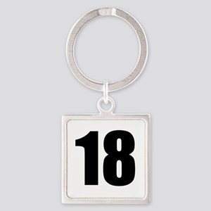 Number 18 Square Keychain