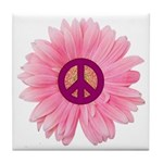 Pink Peace Daisy Tile Coaster