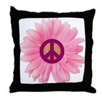 Pink Peace Daisy Throw Pillow