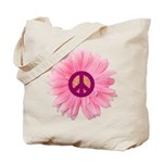 Pink Peace Daisy Tote Bag