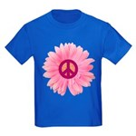 Pink Peace Daisy Kids Dark T-Shirt