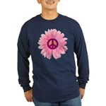 Pink Peace Daisy Long Sleeve Dark T-Shirt