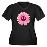 Pink Peace Daisy Women's Plus Size V-Neck Dark T-S