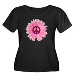 Pink Peace Daisy Women's Plus Size Scoop Neck Dark