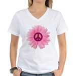 Pink Peace Daisy Women's V-Neck T-Shirt