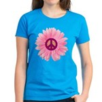 Pink Peace Daisy Women's Dark T-Shirt