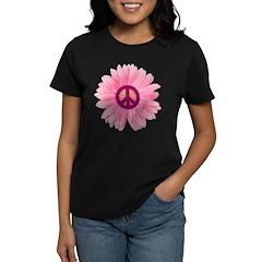 Pink Peace Daisy Women's Dark T-Shirt