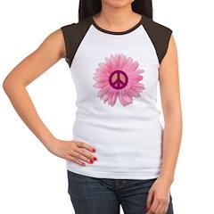 Pink Peace Daisy Women's Cap Sleeve T-Shirt