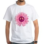 Pink Peace Daisy White T-Shirt