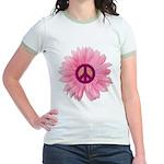 Pink Peace Daisy Jr. Ringer T-Shirt