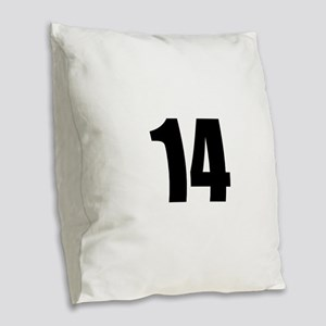 Number 14 Burlap Throw Pillow