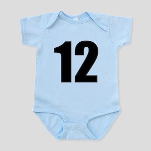 Number 12 Baby Light Bodysuit