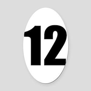 Number 12 Oval Car Magnet