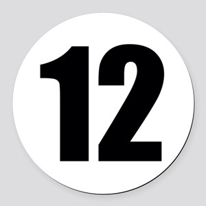Number 12 Round Car Magnet