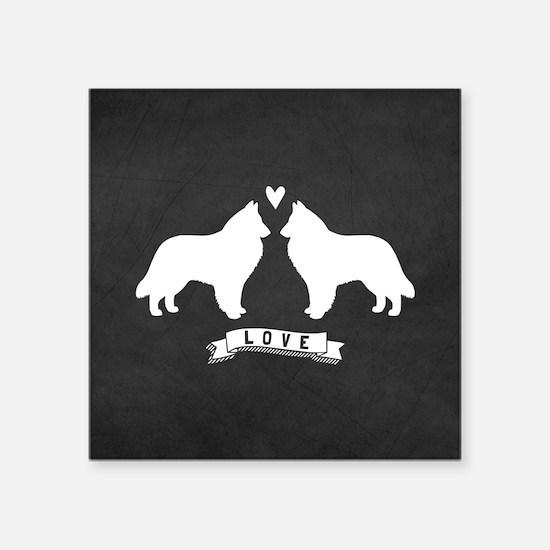 "Belgian Sheepdog Square Sticker 3"" x 3"""