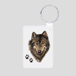 Watercolor Wolf Head Logo & Tracks Keychains