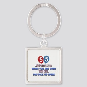 55 year old designs Square Keychain