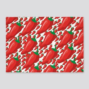 Wild Red Hot Peppers 5'x7'Area Rug