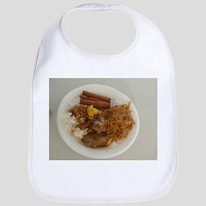 plate with chicken adobo,lumpia,pancit Fi Baby Bib
