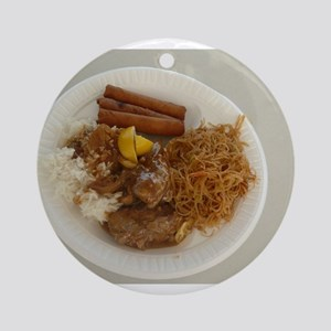 plate with chicken adobo,lumpia,pan Round Ornament