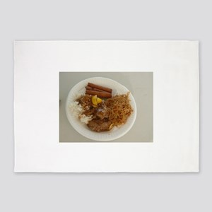 plate with chicken adobo,lumpia,pan 5'x7'Area Rug