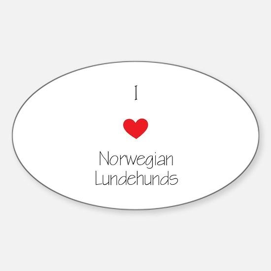 I love Norwegian Lundhunds Sticker (Oval)