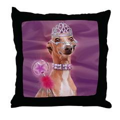 Italian Greyhound Queen Dog Throw Pillow