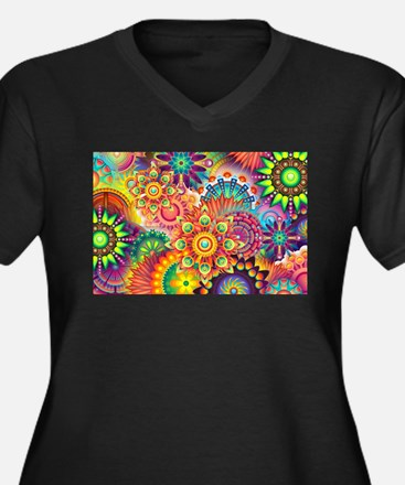 Funky Retro Pattern Abstract Plus Size T-Shirt