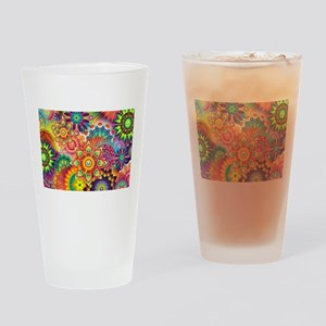 Funky Retro Pattern Abstract Drinking Glass