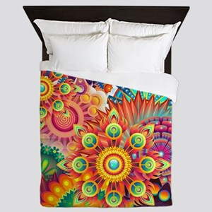 Funky Retro Pattern Abstract Queen Duvet