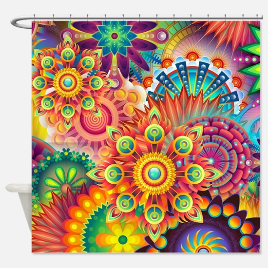 Funky Retro Pattern Abstract Shower Curtain