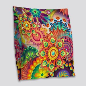 Funky Retro Pattern Abstract Burlap Throw Pillow