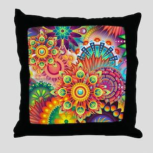 Funky Retro Pattern Abstract Throw Pillow da7ffe0bd