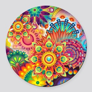 Funky Retro Pattern Abstract Round Car Magnet