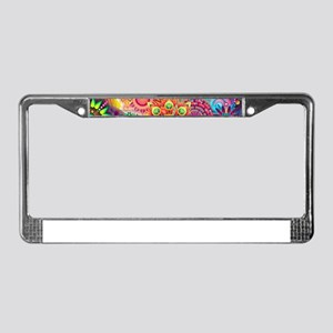 Funky Retro Pattern Abstract License Plate Frame
