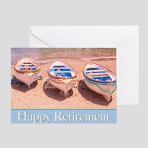Happy Retirement Row Boats Greeting Cards