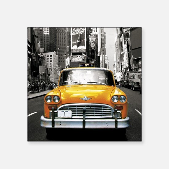 "Cute Taxi cab Square Sticker 3"" x 3"""