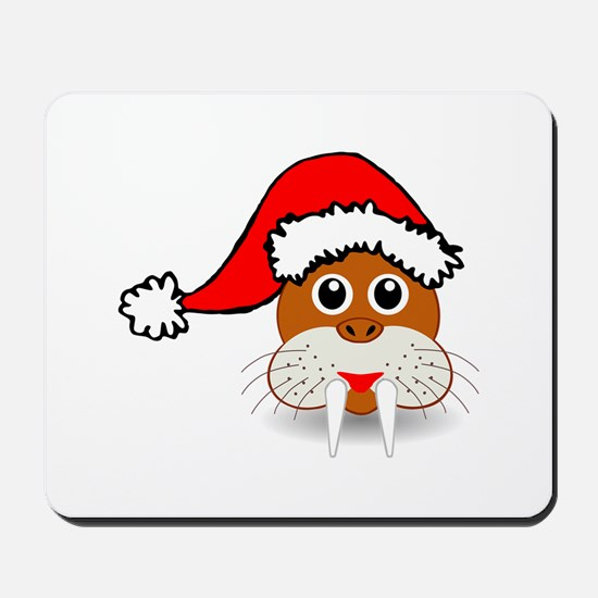 Funny walrus face with Santa Claus hat Mousepad
