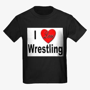 I Love Wrestling (Front) Ash Grey T-Shirt