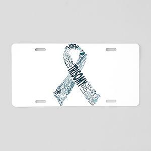 Trisomy Awareness Words Ribbon Aluminum License Pl