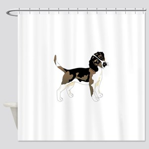 Staring beagle Shower Curtain