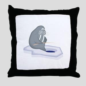 Walrus Fishing Throw Pillow