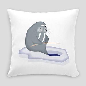 Walrus Fishing Everyday Pillow
