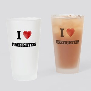 I love Firefighters Drinking Glass