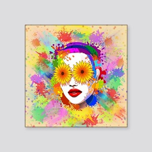 Girl Summer Flowers Eyes Sticker