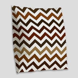 Shades of Brown Chevron Patter Burlap Throw Pillow