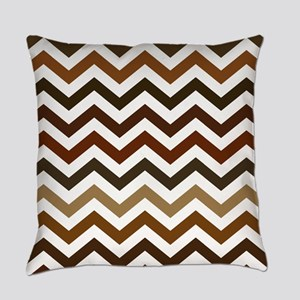 Shades of Brown Chevron Pattern Everyday Pillow